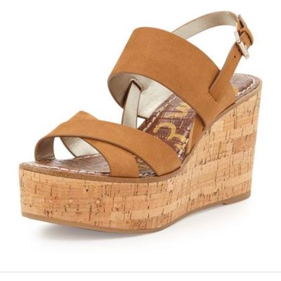 d04a24f2718 Sam Edelman destiny leather cork wedge sandals. M 5bb2238bdf030722b6c2a364